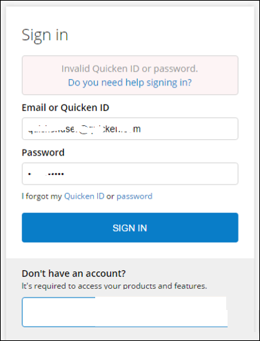 Quicken Invalid Id or password error