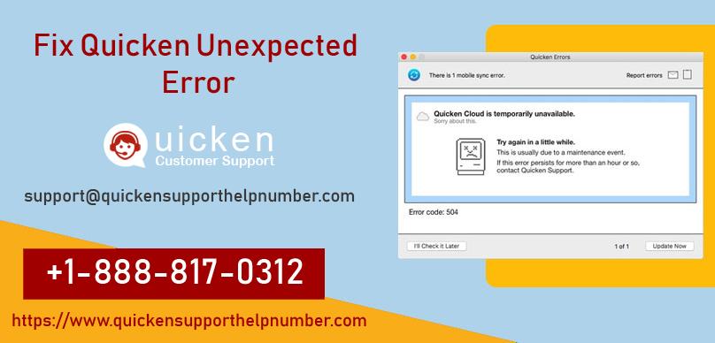 Fix Quicken Unexpected Error - Quicken Support +1-888-817-0312