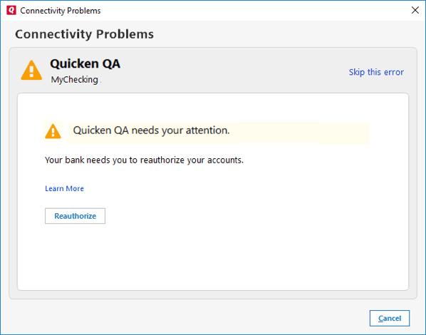 Quicken capital one download error